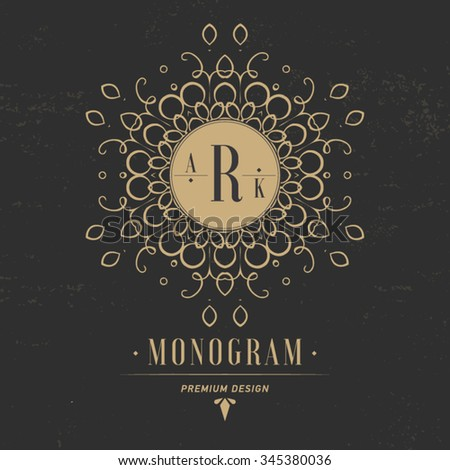 Monogram letter R. Luxury logo flourishes calligraphic elegant ornament lines. Business sign, identity for restaurant, royalty, boutique, cafe, hotel, heraldic, jewelry, fashion. - stock vector