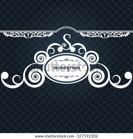 monogram letter retro vintage background frame design