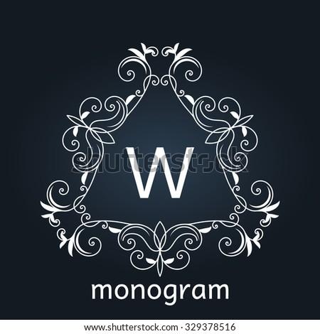 monogram letter retro vintage background frame design - stock vector