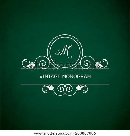Monogram of the letter M, in retro floral style on green chalkboard background. EPS10 vector format - stock vector