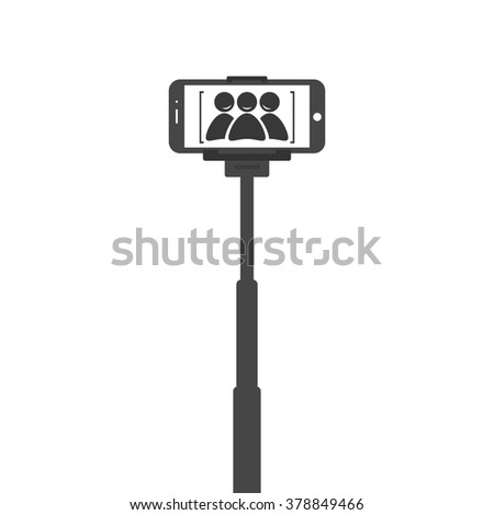 stock vector selfie stick with mobile or cell phone stock free engine image. Black Bedroom Furniture Sets. Home Design Ideas