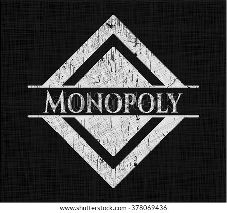 Monopoly chalk emblem, retro style, chalk or chalkboard texture - stock vector