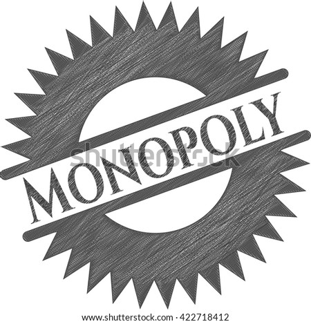 Monopoly emblem with pencil effect - stock vector