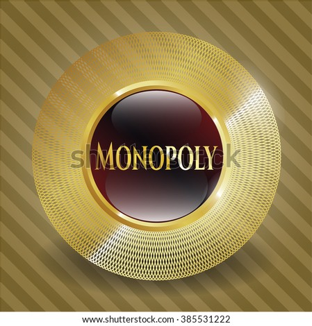 Monopoly gold badge - stock vector