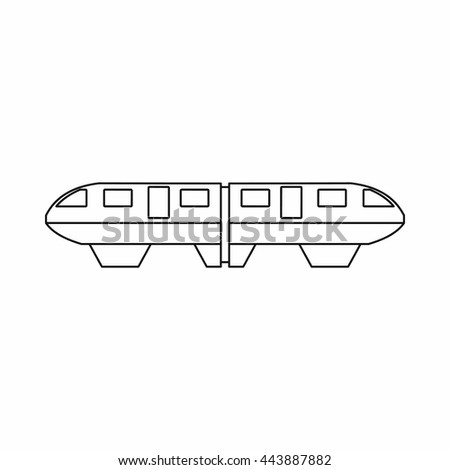 Monorail train icon in outline style isolated on white background - stock vector