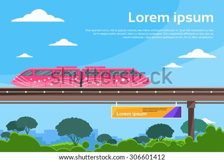 Monorail Train Sky Subway Public Flat Vector Illustration - stock vector