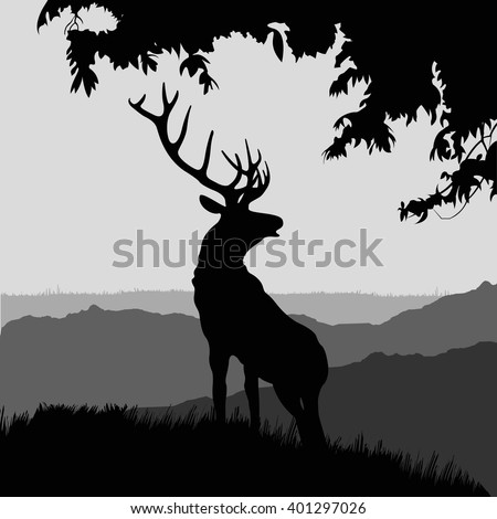 monotonic illustration of an elk. silhouette of elk in the natural environment.  illustration of elk on a landscape.  - stock vector