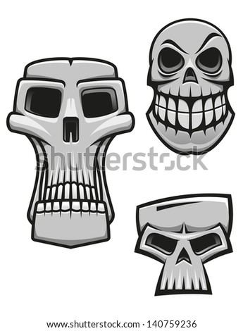 Monster and zombie skulls set isolated on white for halloween or horror concept design. Jpeg (bitmap) version also available in gallery - stock vector