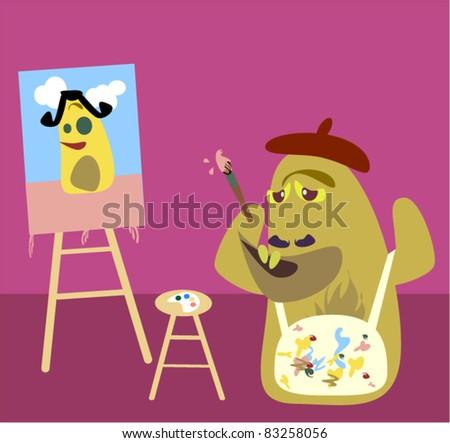 Monster Art. A cute vector of an artist monster at work. - stock vector