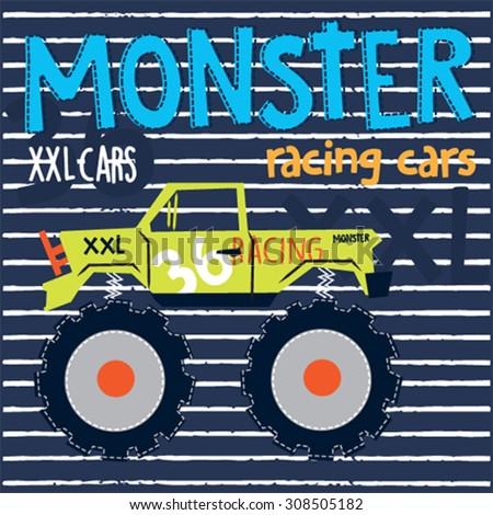 monster car on striped background, T-shirt design vector illustration - stock vector