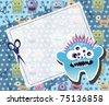 Monster card blue - stock vector