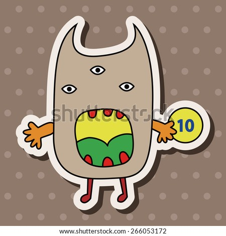 monster cartoon theme elements vector,eps