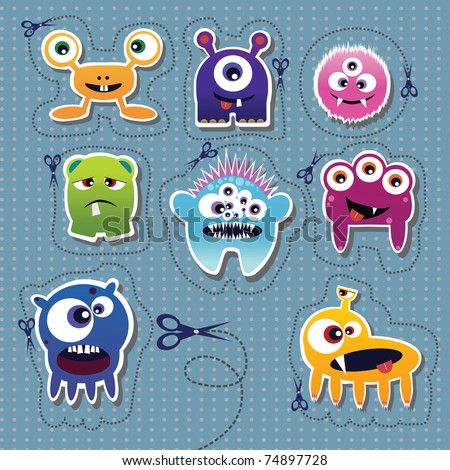 Monster collection - stock vector