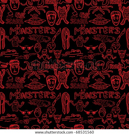 Monster doodles seamless pattern. Vector illustration. - stock vector
