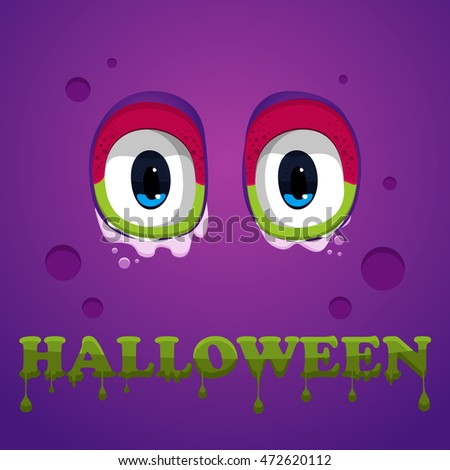 Monster eyes. Halloween text.Vector.Monster eyes on violet background. Halloween text.Vector.Halloween illustration.Halloween poster design.Halloween Background.Flat Halloween monster Icon.