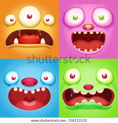 Monster faces - stock vector