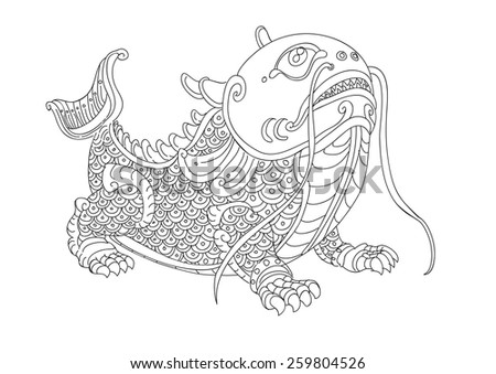 Monster Fish In Thai Drawing Style