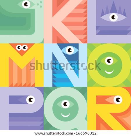 Monster font J K L M N O P Q R. Vector freak alphabet - stock vector