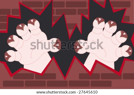 monster hands with claws coming through a broken wall - stock vector