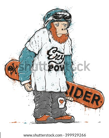 Monster holding a snowboard isolated on white. Grunge hand drawn illustration of a monkey snowboarder. Splashes of paint and dirt graffiti effects. - stock vector