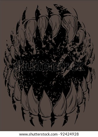Monster Mouth (Grunge version) - stock vector