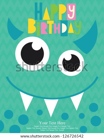 monster party card. vector illustration - stock vector