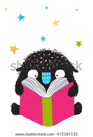 Monster Reading Book Cartoon for Kids. Happy funny little monster education and reading, picture for children. Cartoon illustration. Vector drawing.