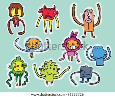 Monster's stickers - stock vector