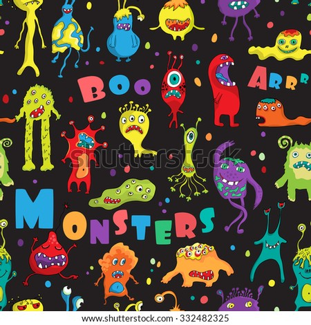 Monster Seamless Pattern Hand Drawn Design Stock Vector Hd Royalty