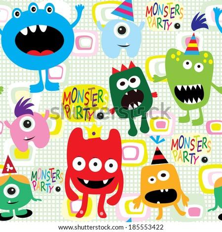 Monster seamless. Vector illustration - stock vector