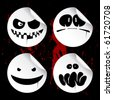 Monster smileys on black blood background, set of halloween wicked stickers. - stock vector
