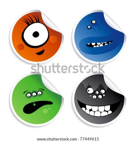 Monster smileys, set of wicked stickers. - stock vector