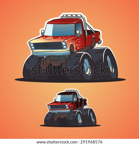 monster truck. cartoon illustration - stock vector