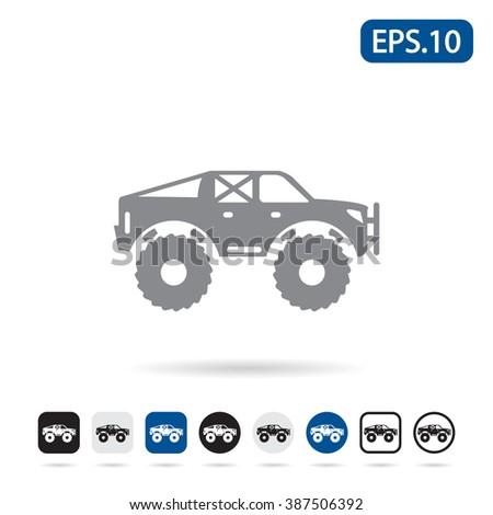 Monster truck icon. Vector illustration. - stock vector