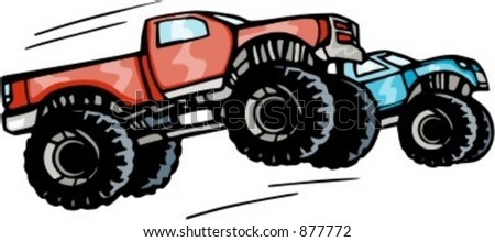 Monster trucks competition. Check my portfolio for many more images of this series. - stock vector