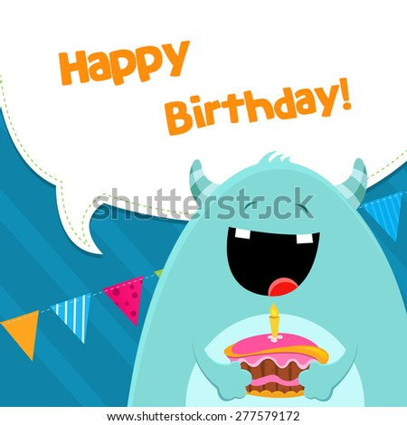 Monster With Birthday Cake - stock vector