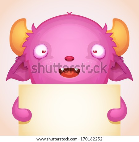 Monster with blank banner - stock vector