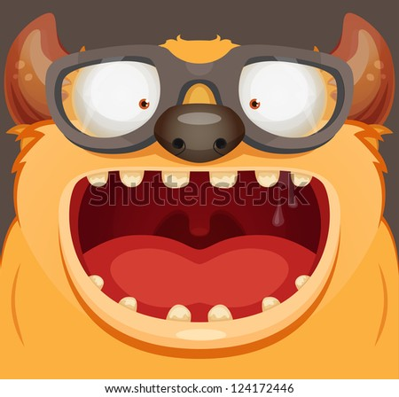 Monster With Glasses - stock vector