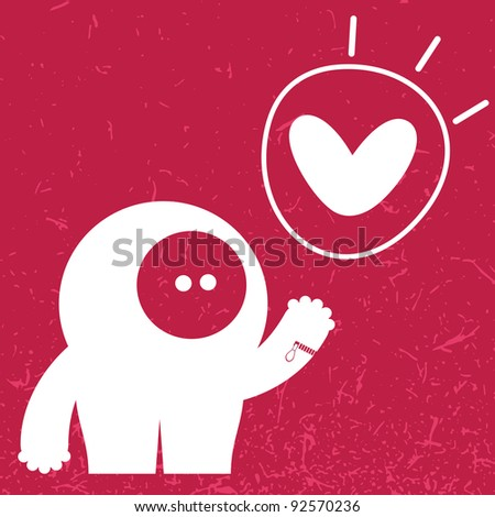 Monster with heart on color background - stock vector