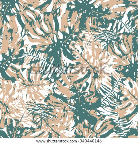Monstera leaves. Monochrome tropical background with Hawaiian palm print. Repeating pattern with tropical leaves. - stock vector