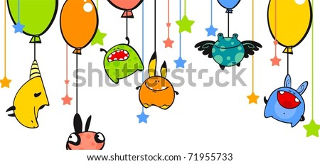 Monsters and balloons - stock vector