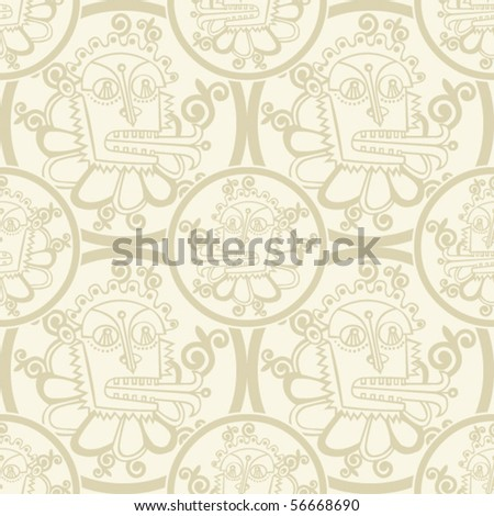 monsters background, seamless vector pattern - stock vector