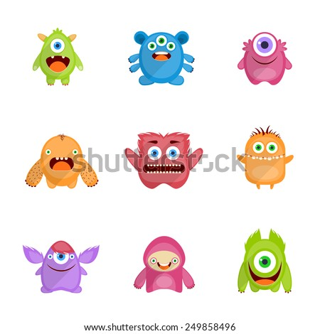 Monsters characters set flat with fun cheerful furious scary angry creatures isolated vector illustration