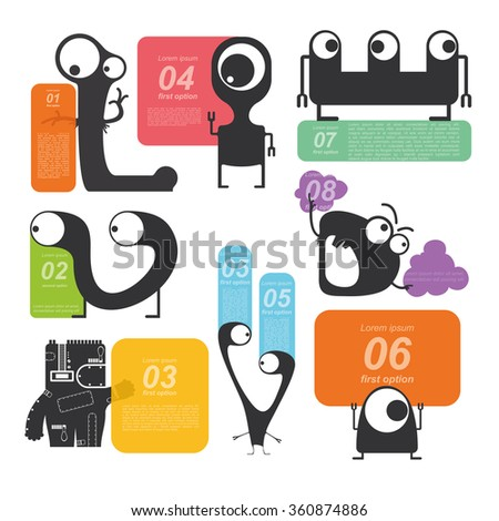 Monsters hold banners for text message. Color set. Vector illustrations - stock vector