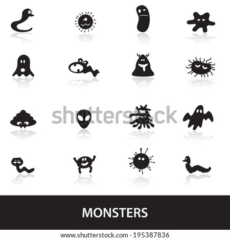 monsters icon collection eps10 - stock vector