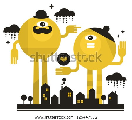 Monsters in the city. Vector illustration. - stock vector