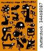 monsters, mutants and creatures - stock vector