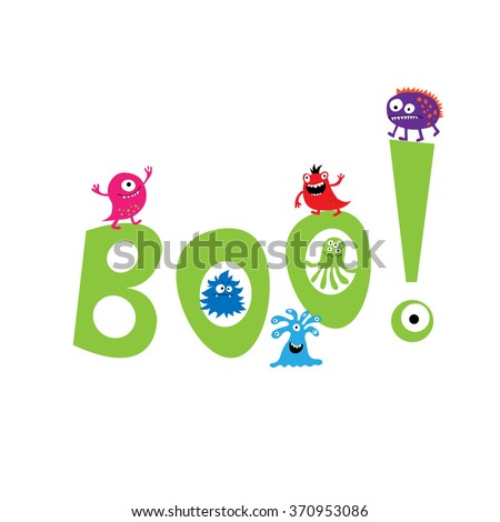 Monsters on a the background of the word boo - stock vector