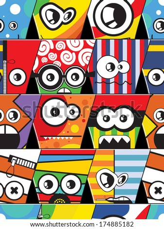 Monsters - seamless pattern - stock vector