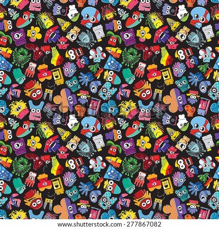 Monsters - seamless pattern. Vector illustration